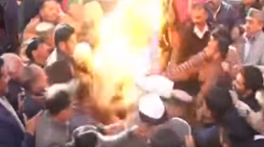 Backdraft! Indian opposition activists catch fire trying to burn effigy of PM Modi (VIDEO)
