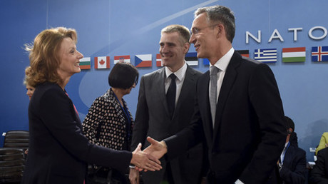(L to R) Minister of Defense of Montenegro Milica Pejanovic and Foreign Minister of Montenegro Igor Luksic and NATO Secretary General Jens Stoltenberg take part in a Foreign Affairs meeting at the NATO headquarters in Brussels on December 2, 2015 © John Thys