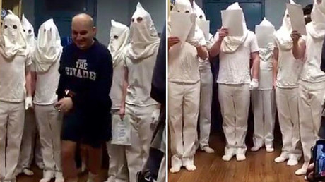 KKK gang or Christmas ghosts? Military cadets suspended over white hoods photos