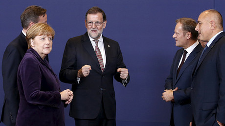 Britain's Prime Minister David Cameron, Germany's Chancellor Angela Merkel, Spain's Prime Minister Mariano Rajoy, European Council President Donald Tusk and Bulgaria's Prime Minister Boyko Borisov during a European Union leaders summit in Brussels, Belgium, December 17, 2015. © Francois Lenoir