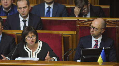 Ukrainian Prime Minister Arseny Yatseniuk (R, front) and Finance Minister Natalia Yaresko (C, front). © Andrew Kravchenko