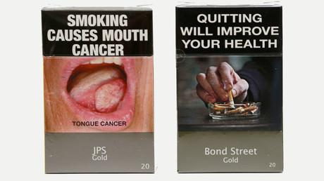 Photo illustration of new mandatory packaging for cigarettes sold in Australia. © Tim Wimborne