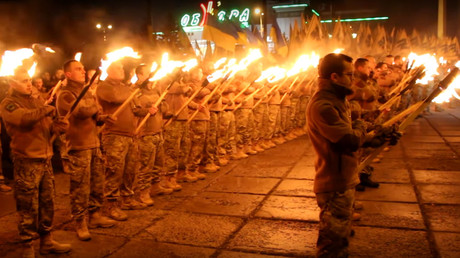 'Coming after you:' Ukrainian ultranationalists stage Nazi-like torch parade