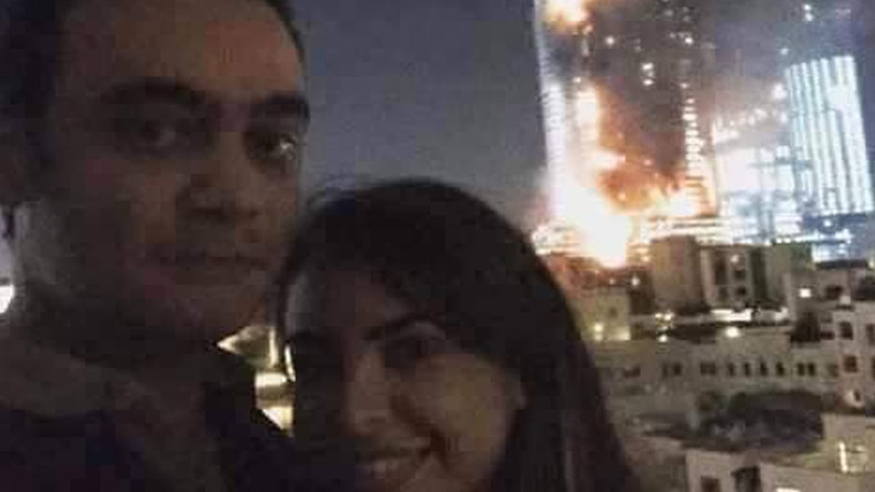 'Most inappropriate selfie ever': Couple put to shame over photo in front of burning Dubai hotel