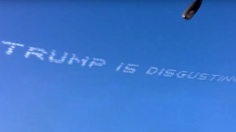 Dumping on Trump: Skywriters troll GOP frontrunner from high above California's Rose Parade
