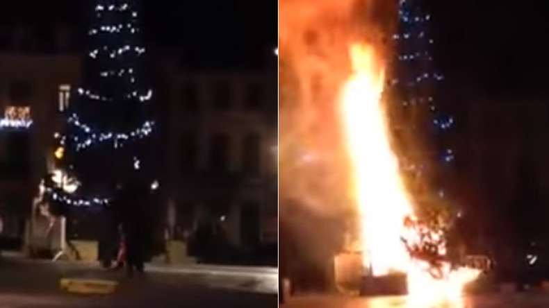 Christmas tree petrol-bombed in Belgium by youth shouting 'Allahu Akbar' (VIDEO)