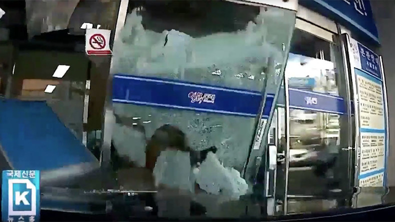 Crash! Bang! Wallop! Watch how a 76yo driver smashes her car into City Hall – and keeps going (VIDEO
