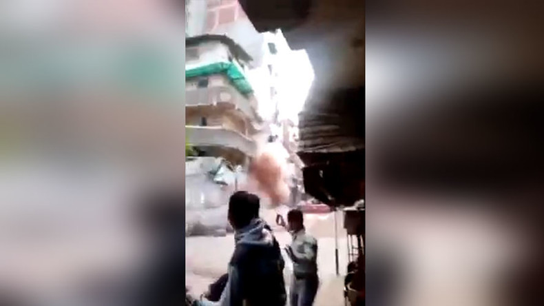 House of cards: Crowd runs for their lives as apartment block collapses in Egypt (VIDEO)