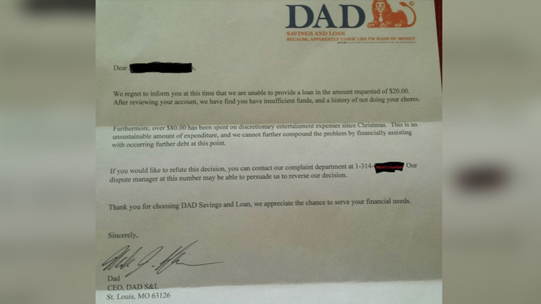 Dad's brutal 'bank' loan refusal to his 6yo son goes viral
