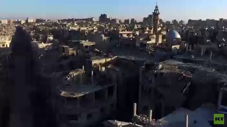 RT EXCLUSIVE: Drone footage shows total devastation in Homs