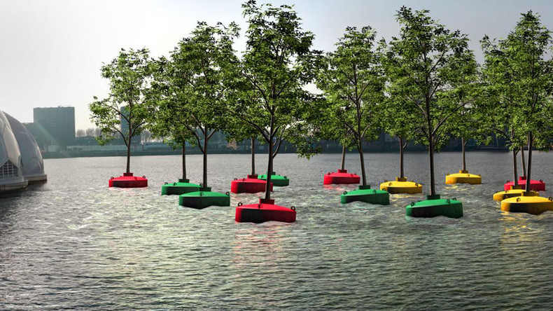 'Bobbing Forest' adds splash of green to urban Dutch harbor