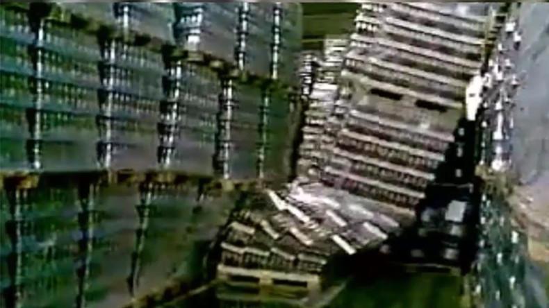 Beer Jenga: Tower of bottles come crashing down (VIDEO)
