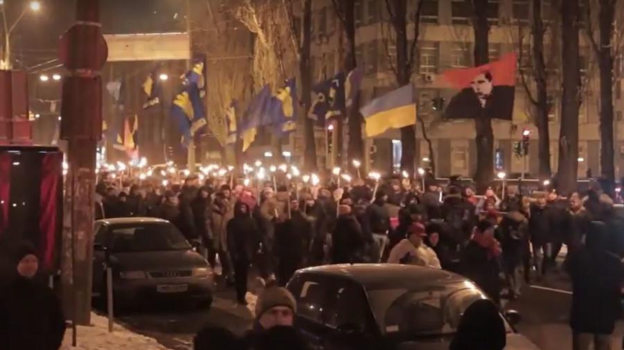 Ukrainian nationalists celebrate birthday of Nazi collaborator Bandera with torch-lit marches