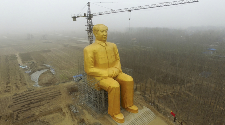 Chairman Mao gets 36 meter gilded make-over in China