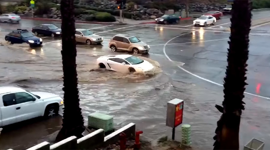 Little Lamborghini that could: Sportscar fights San Diego flood and wins (VIDEO)