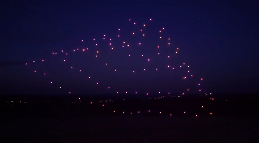 Record breakers: 100 drones perform orchestral maneuvers in the dark
