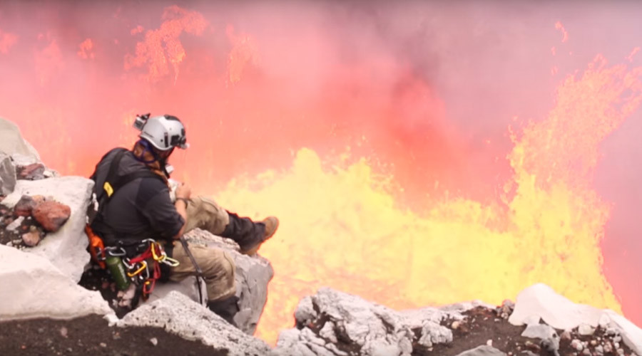 That's s'more like it: Man toasts treat over violent lava crater