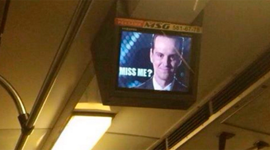 Miss me? Images of Moriarty appear on Kiev metro screens