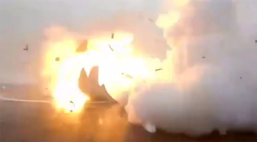 Expectation v reality: Watch Falcon SpaceX rocket fall & explode attempting barge landing (VIDEO)