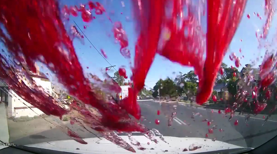 Bottle shock: Driver forced off road by wine explosion (VIDEO)