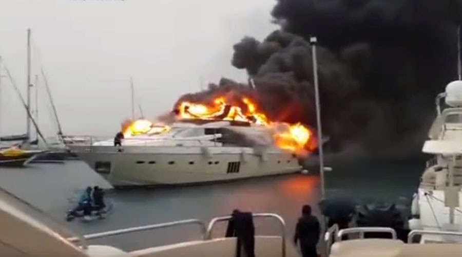 Superyacht belonging to 'Russian businessman' bursts into flames in Turkish marina (VIDEO)