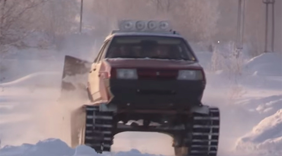 Siberian man converts car to 'DIY tank' to battle snow (VIDEO)