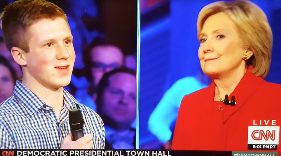 Iowa student slips up, denies CNN planted his question for Hillary Clinton (Video)