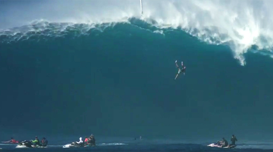Mega wipeout: Surfer thrown 40ft from epic wave (VIDEO)