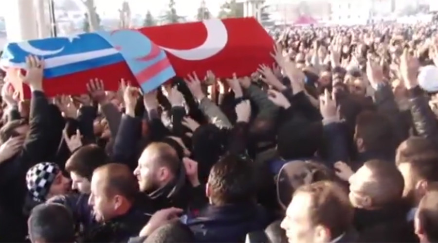 Turkish fighter who bragged about killing Russian pilot appears at Istanbul militant's funeral