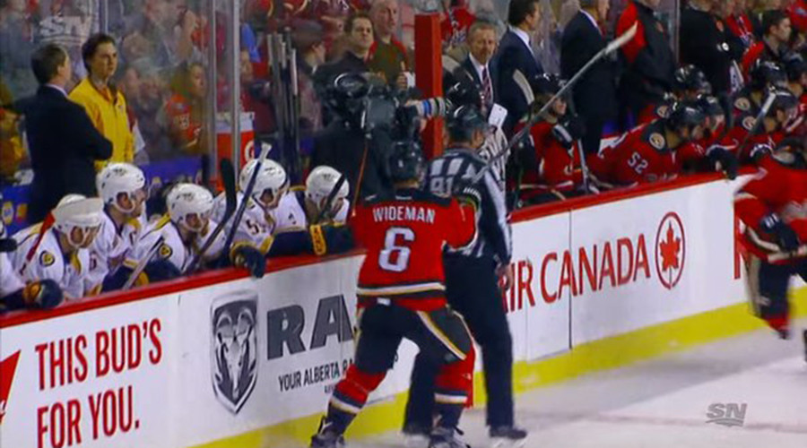 Flaming Wideman whacks linesman, faces 10-game NHL ban (VIDEO)