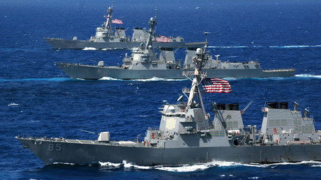 Three Arleigh Burke-class guided-missile destroyers, the USS McCampbell (DDG 85), USS Lassen (DDG 82) and USS Shoup (DDG 86) steam in formation during a photo exercise (PHOTOEX) for Valiant Shield 2006 in the Pacific Ocean, June 18, 2006. © Todd P. Cichonowicz