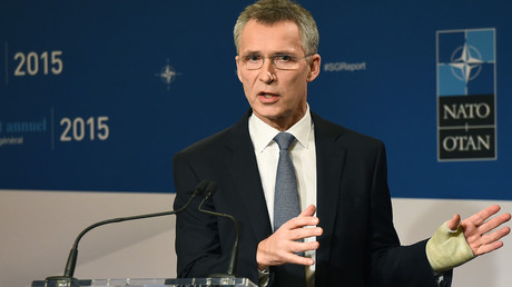 NATO Secretary General Jens Stoltenberg presents the 2015 NATO annual report during a press conference in Brussels, January 28, 2016. © Emmanuel Dunand