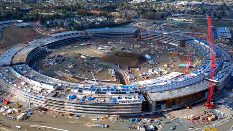 Drone shows Apple 'spaceship' campus set for end of year completion (VIDEO)