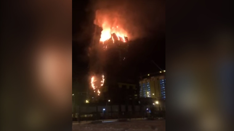 Huge fire at Abu Dhabi Plaza high-rise in Astana (VIDEO)
