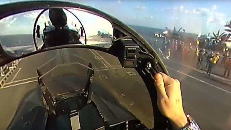 F/A-18 Super Hornet takes off in 360-degree clip from aircraft carrier in Med (VIDEO)