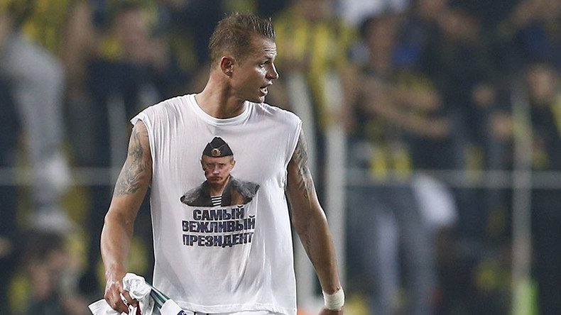 Get shirty: Russian footballer outrages Turkish fans and media with Putin tee