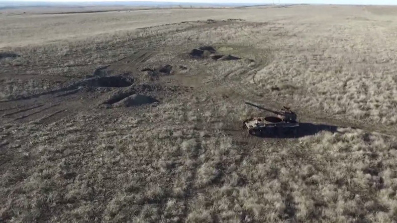 Drone footage shows one of Ukraine's bloodiest battlefields, Debaltsevo, 1yr on