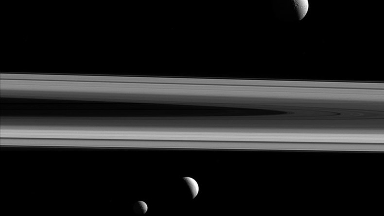 NASA releases incredible image of three of Saturn's moons