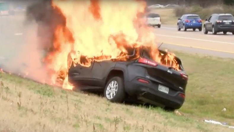 'That's God': Driver, bible survive huge car inferno (VIDEO)