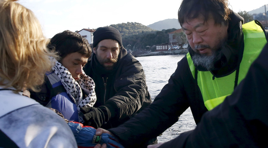 Photo of Chinese artist Ai Weiwei posing as drowned refugee child Aylan Kurdi sparks controversy