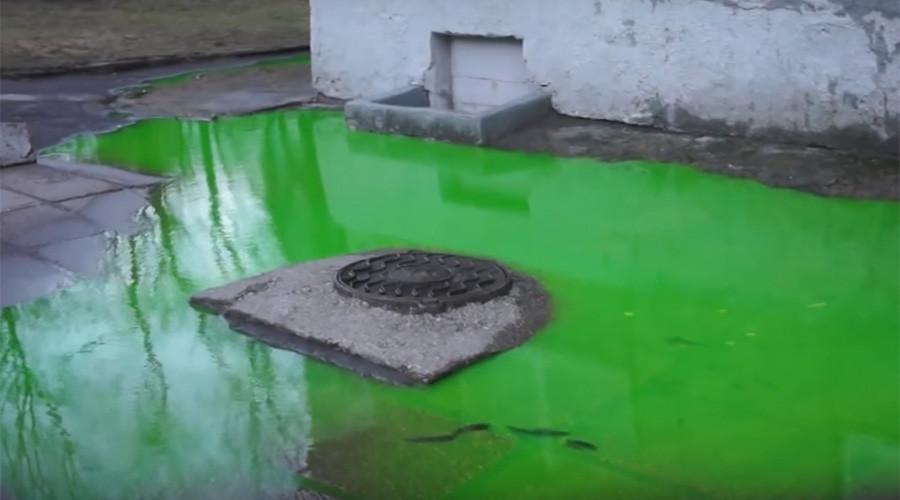 Mysterious acid-green liquid swamps backyard in Kaliningrad (VIDEO, PHOTOS)