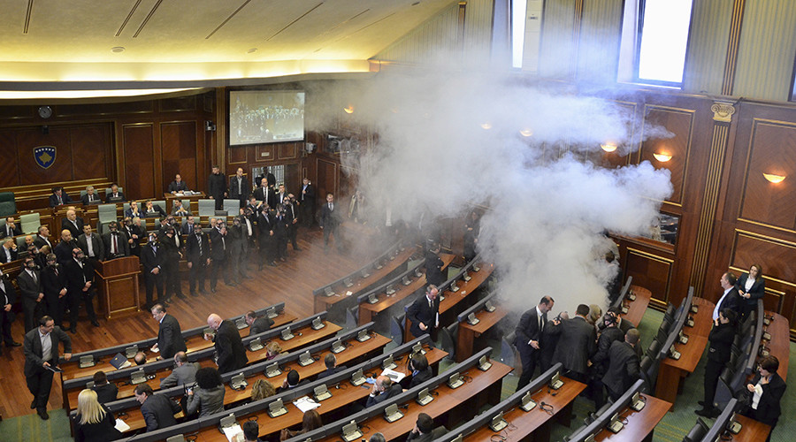 Get the gas masks out: Opposition MPs disrupt Kosovo parliament with tear gas again