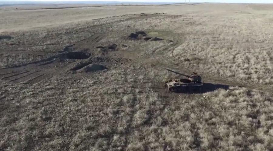 Drone footage shows one of Ukraine's bloodiest battlefields, Debaltsevo, 1yr on