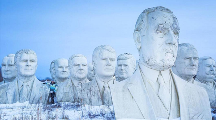 Giant heads of state: Virginian graveyard for weather beaten US president statues (VIDEO)