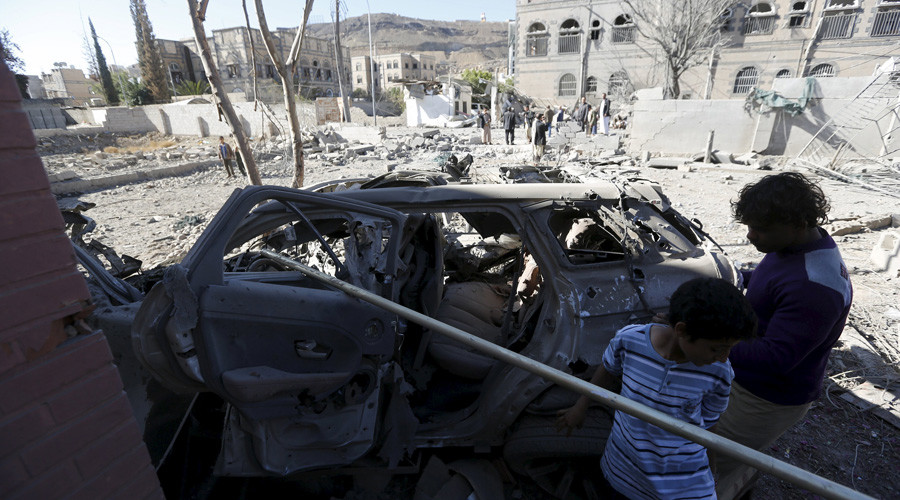 Dozens feared killed as coalition forces strike market in Yemeni capital (VIDEO)