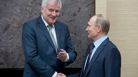 February 3, 2016. Russian President Vladimir Putin, right, during a meeting with Minister-President of Bavaria Horst Seehofer at Novo-Ogaryovo residence. © Sergey Guneev