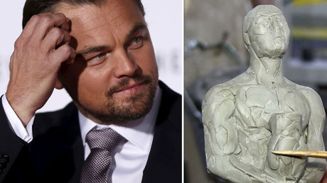 Actor Leonardo DiCaprio (L), 'Oscar' made in Yakutia Region. © Reuters / Ruptly TV