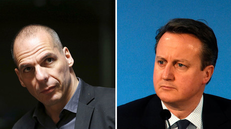 Ex-Greek Finance Minister Yanis Varoufakis (L), Britain's Prime Minister David Cameron. © Reuters