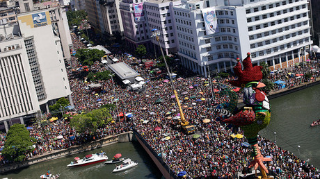 An aerial view of revellers during the