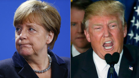 German Chancellor Angela Merkel and Republican U.S. presidential candidate Donald Trump. © Jim Bourg